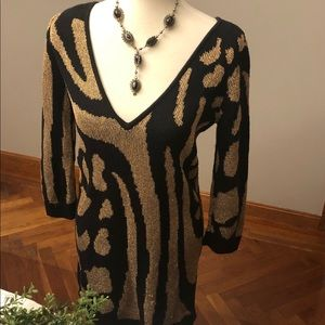 Reversible sparkle & fade gold sweater dress, M